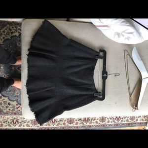 Black Tweed Flare Skirt